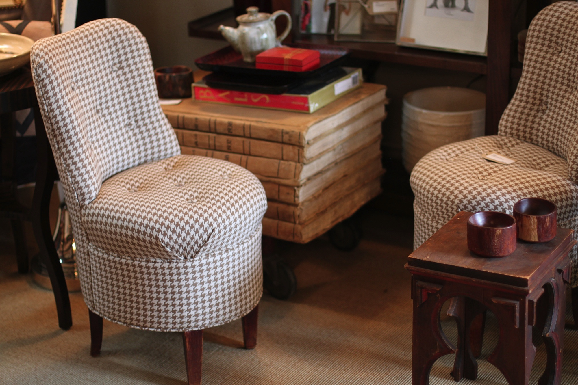 A Pair Of Petite Vintage Accent Chairs That Are Covered In A Neutral  Houndu0027s Tooth Patterned Fabric Are New To The Shop. They May Be Small, But  Are Packed ...