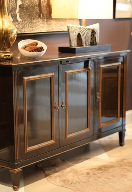 server, buffet, vintage, brown lacquer