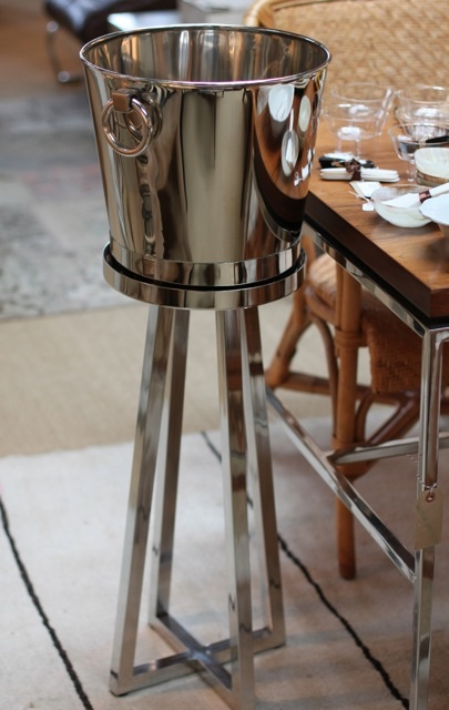 metal, chrome, wine bucket,