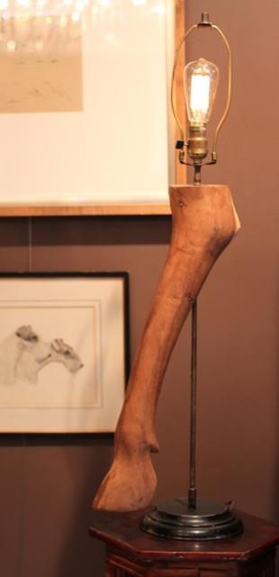 lamp, vintage, horse, carved wood